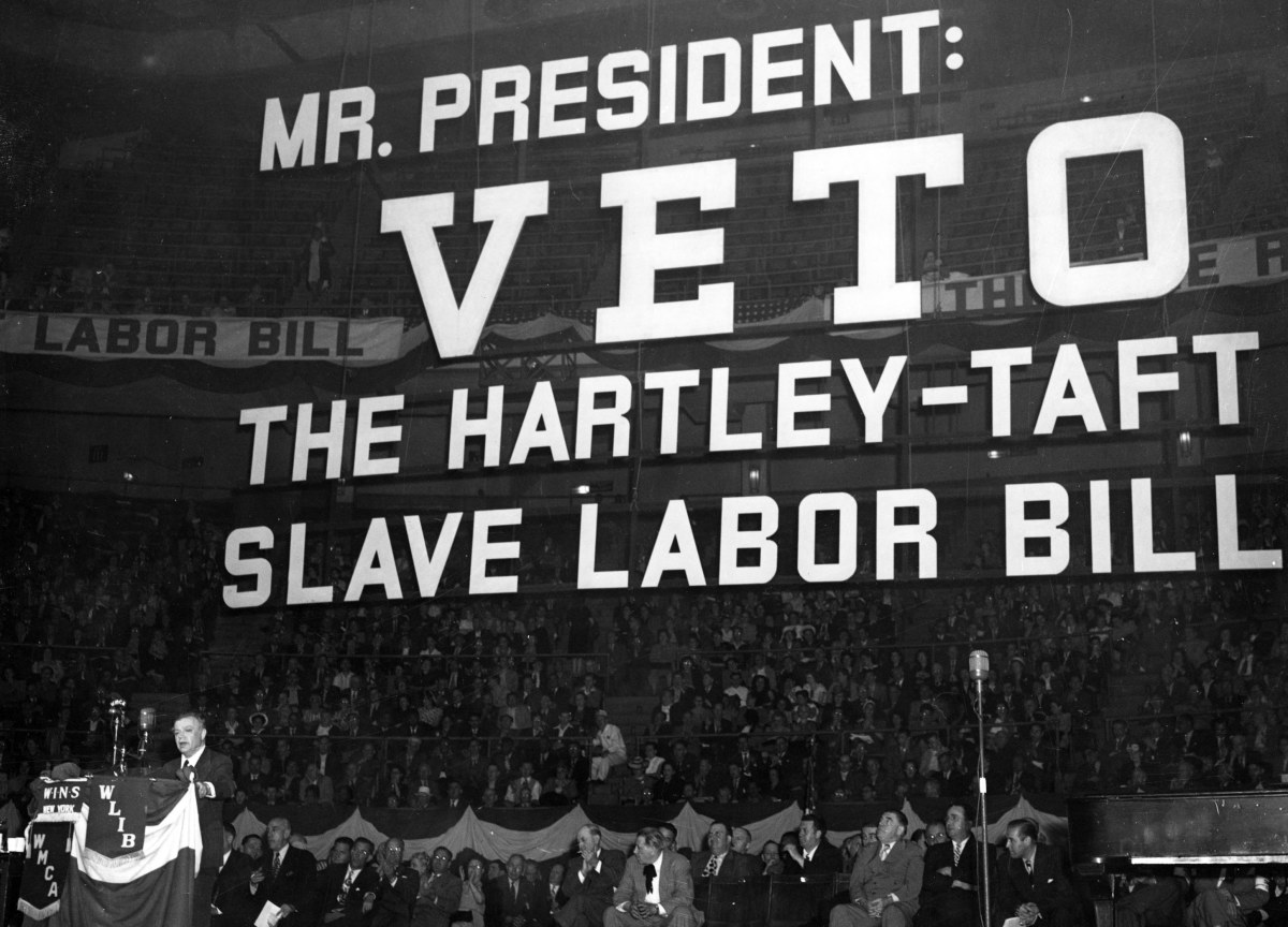 Labor leader David Dubinsky delivers a speech against the Taft-Hartley bill on May 4th, 1947.