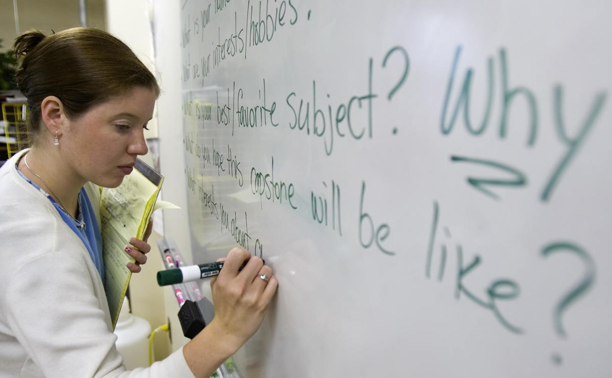 A teacher prepares for class inside her science classroom at Cesar Chavez Public Charter School in Washington, D.C.