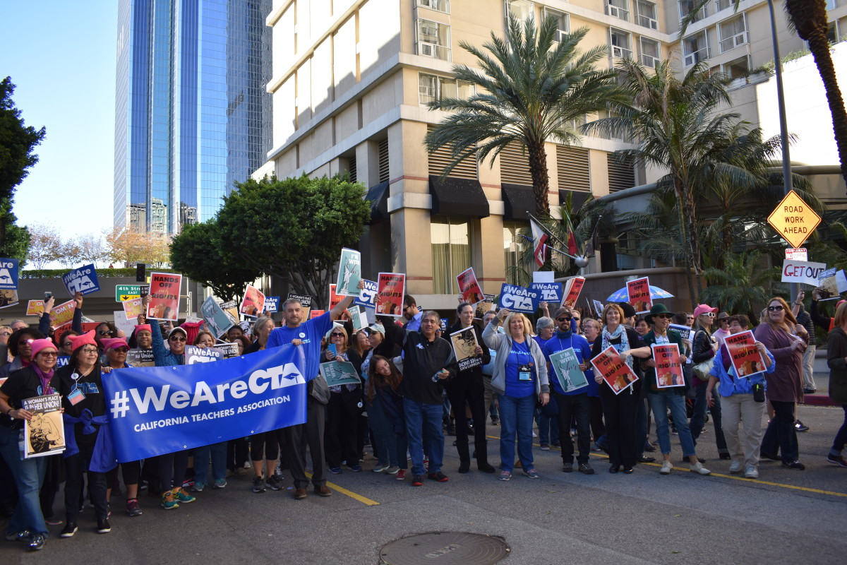Members of the California Teachers Association gather in Los Angeles for the Women's March.