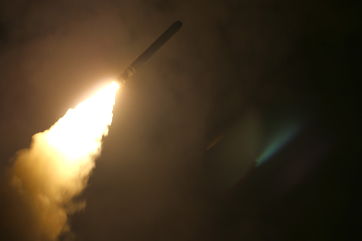 In this handout released by the U.S. Navy, the guided-missile cruiser USS Monterey (CG 61) fires a Tomahawk land attack missile at Syria as part of an allied strike on April 13th, 2018.