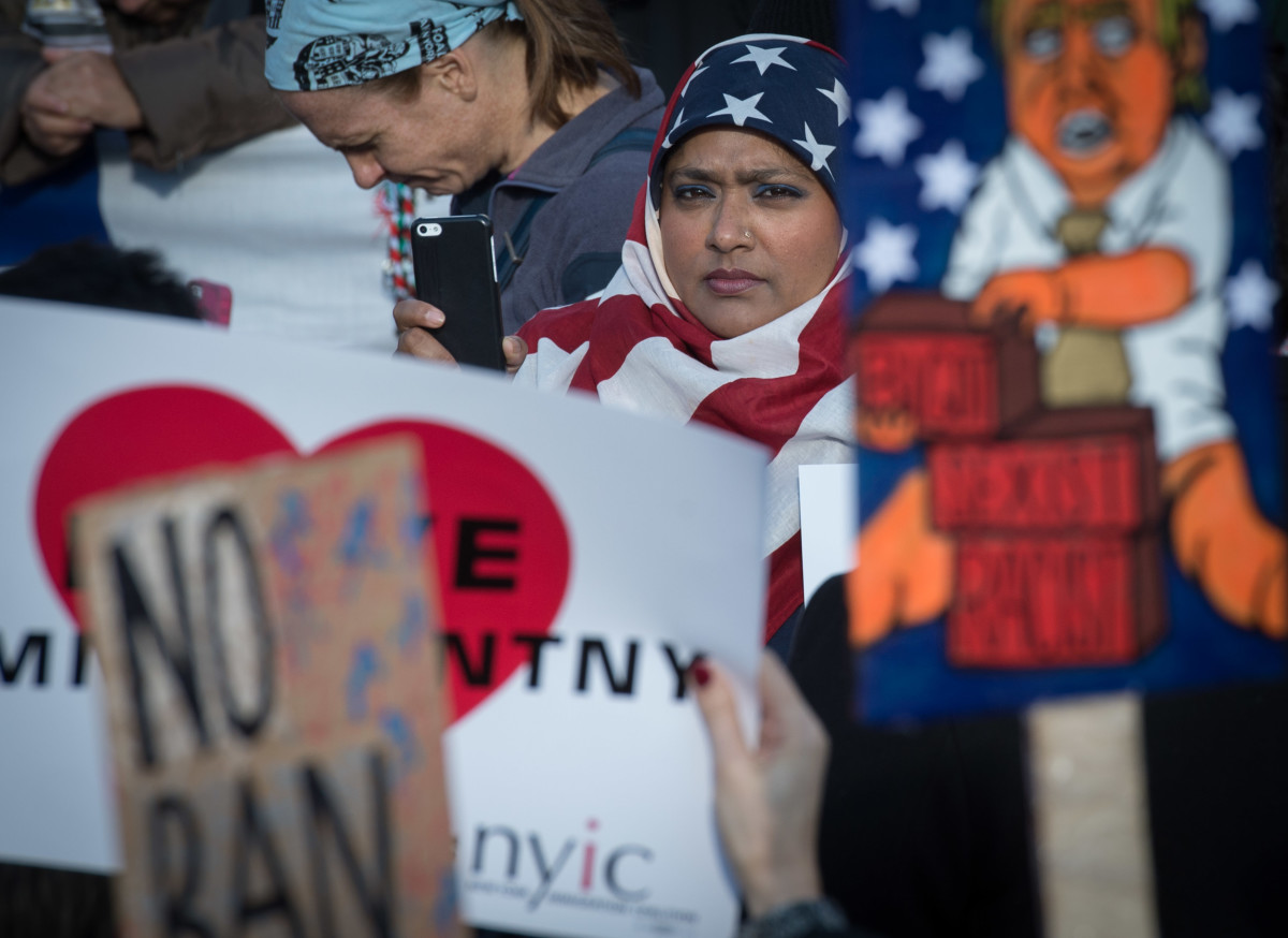 Protesters gather in New York City's Battery Park to rally against the travel ban on January 29th, 2017.