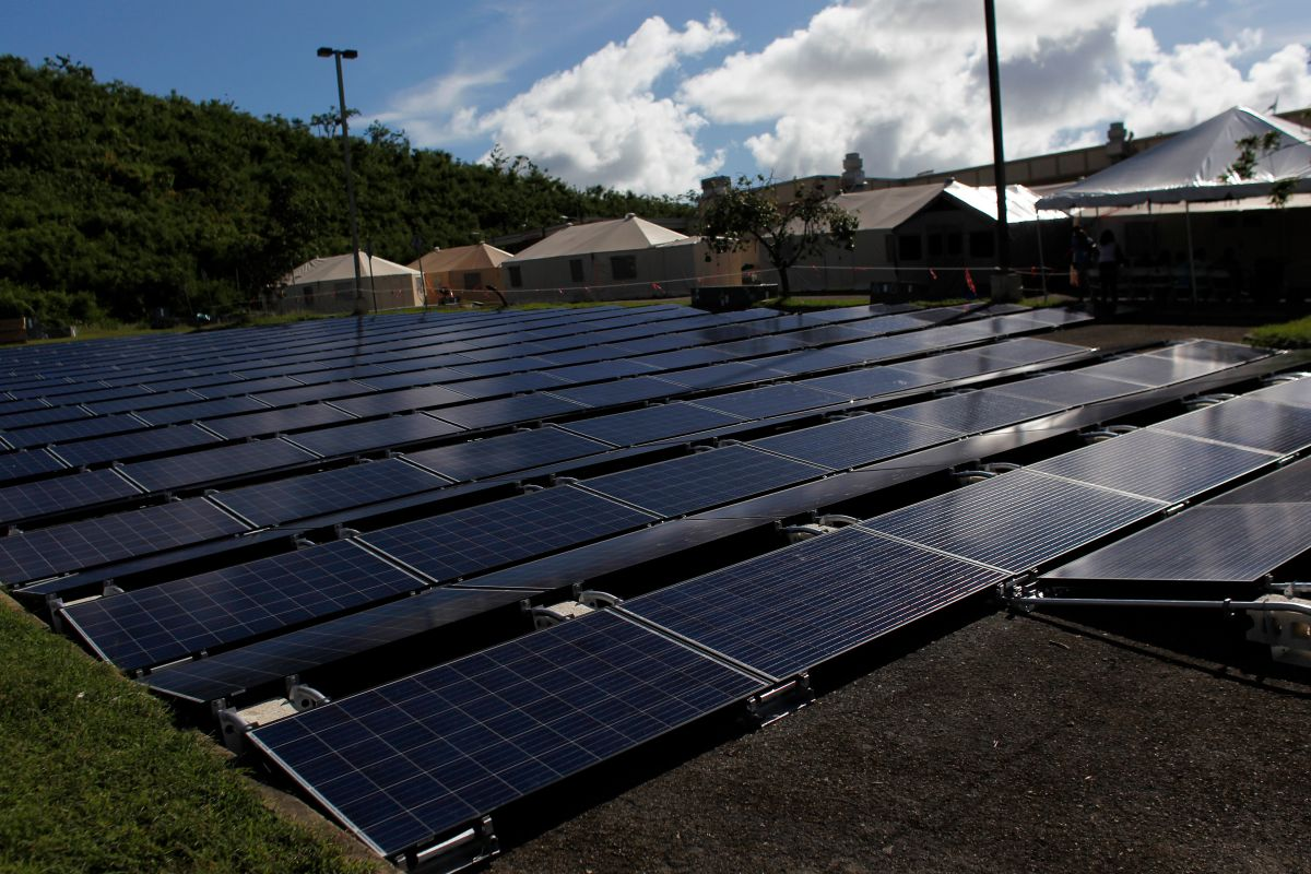 Solar panels set up by Tesla Industries are seen at a hospital in Vieques, Puerto Rico, on November 27th, 2017.