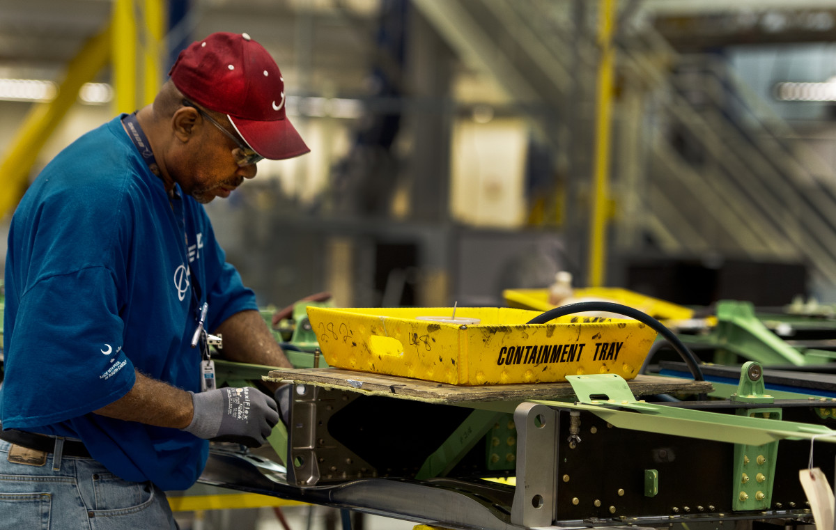 A Boeing employee works at the plant in North Charleston, South Carolina.