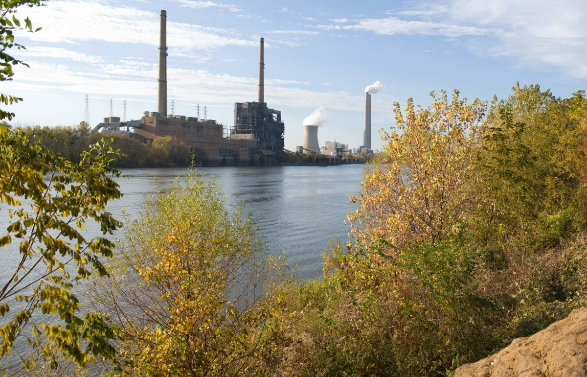 American Electric Power's Mountaineer coal power plant in New Haven, West Virginia, is seen from across the Ohio River in Racine, Ohio.