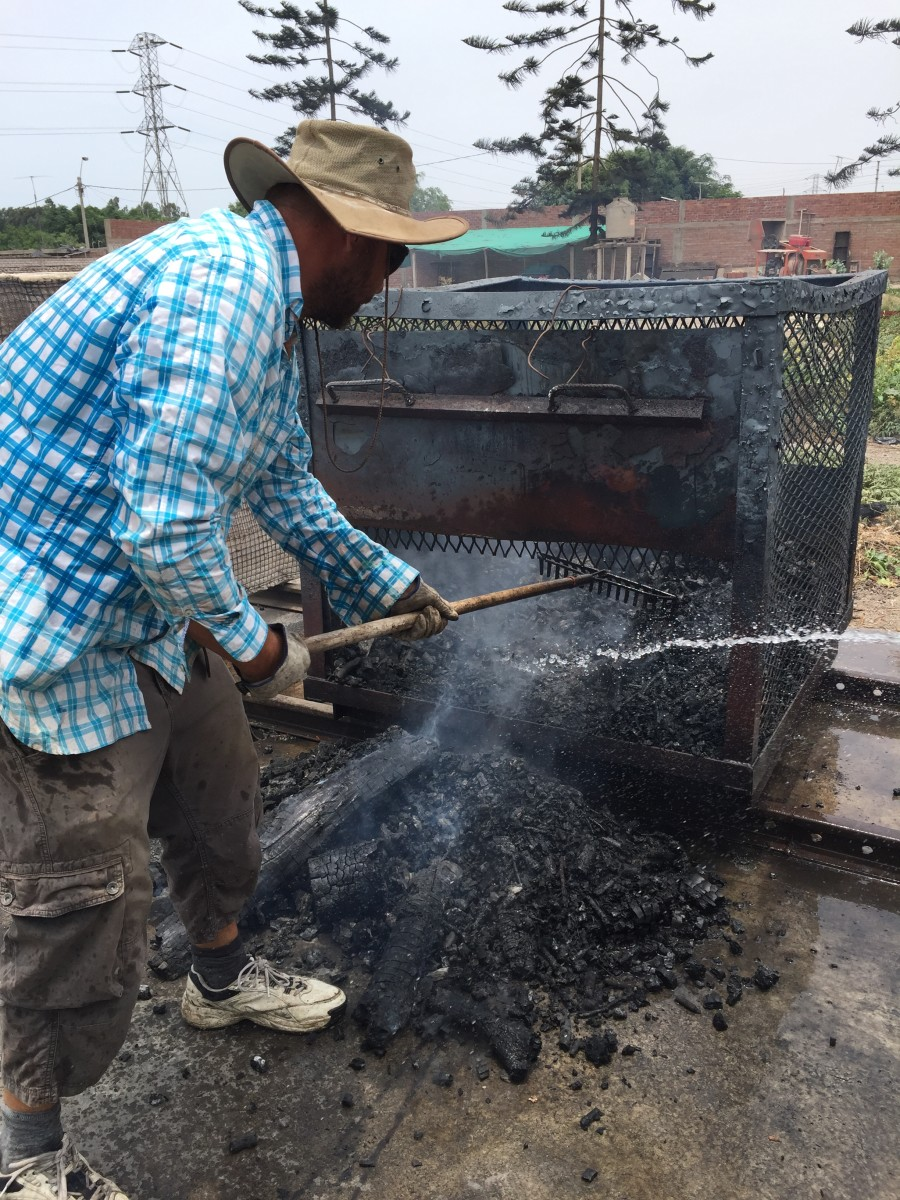 A biochar-making batch pyrolyzer behind Brenton Ladd's house.
