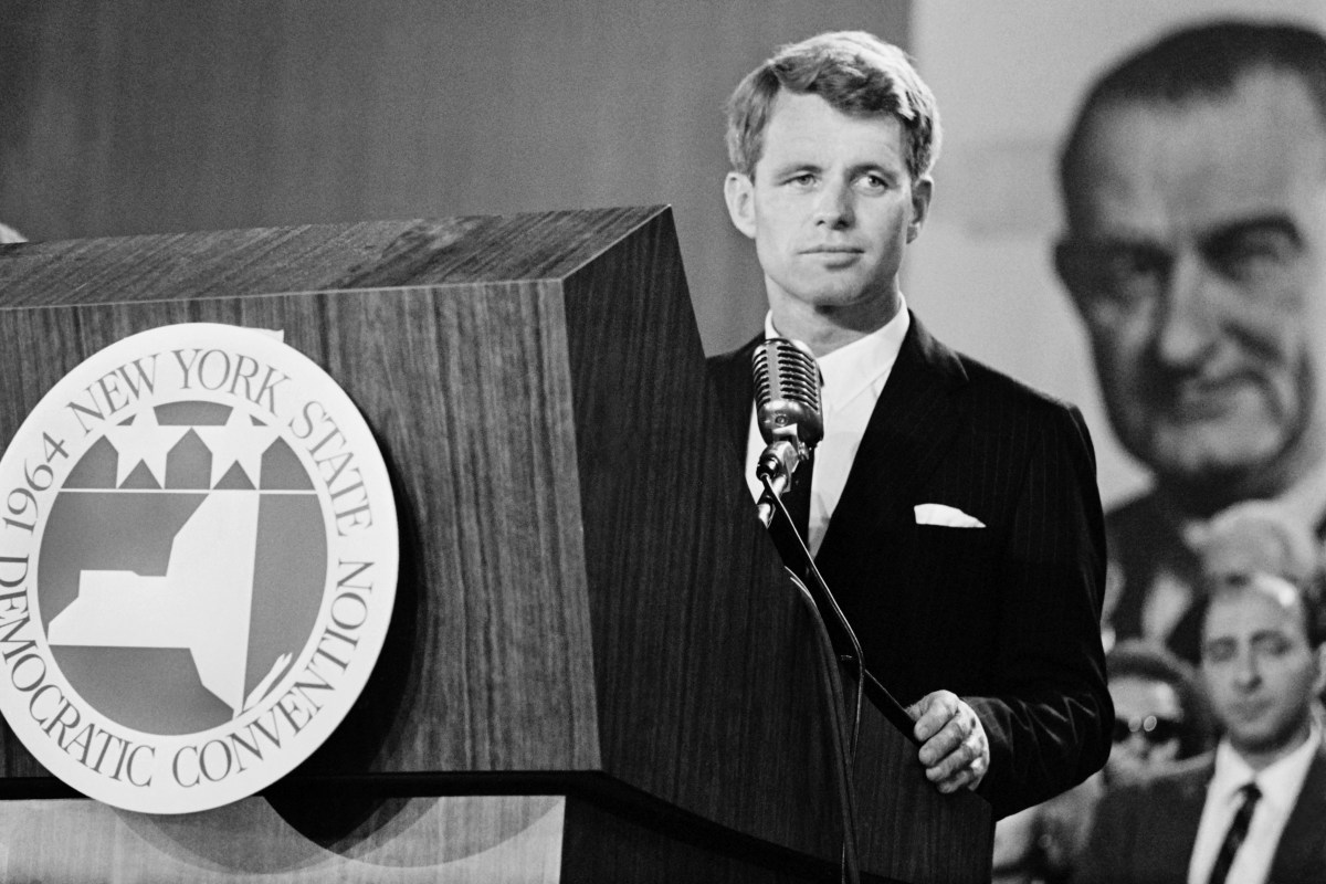 Robert Kennedy gives a speech at the Democratic National Convention in New York on September 2nd, 1964.