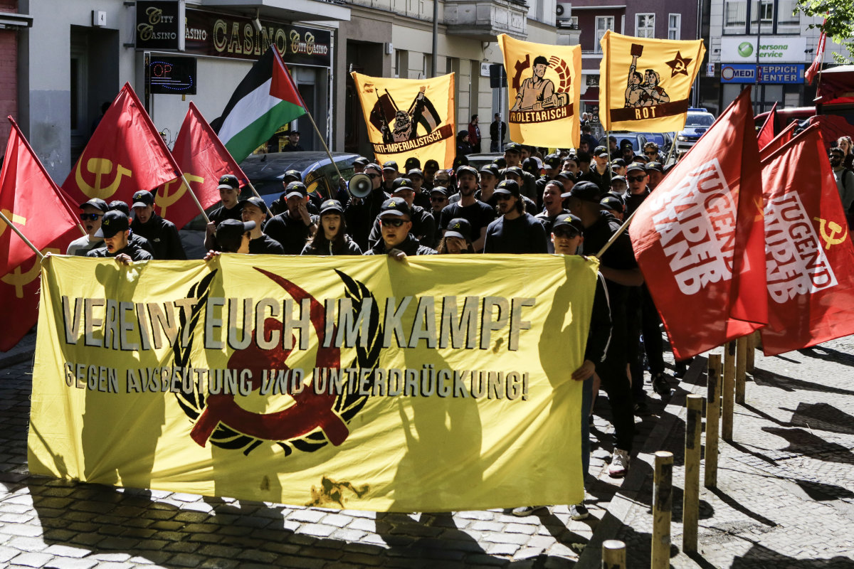 Protesters attend a left-wing radical and pro-Palestinian demonstration on May 1st, 2018, in Berlin, Germany. May Day is a holiday in Germany traditionally dedicated to labor, with unions and political parties holding gatherings and rallies across the country. May Day also brings out the fringes of the political spectrum, with leftists and anarchists marching in Berlin and neo-Nazis marching in Erfurt.