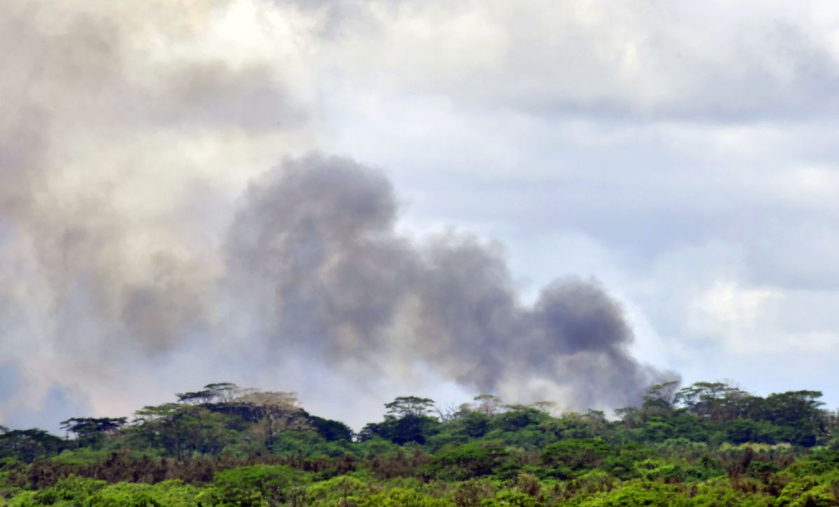 A plume of volcanic smoke rises over the area of Leilani Estates on May 6th, 2018, on Hawaii's Big Island.