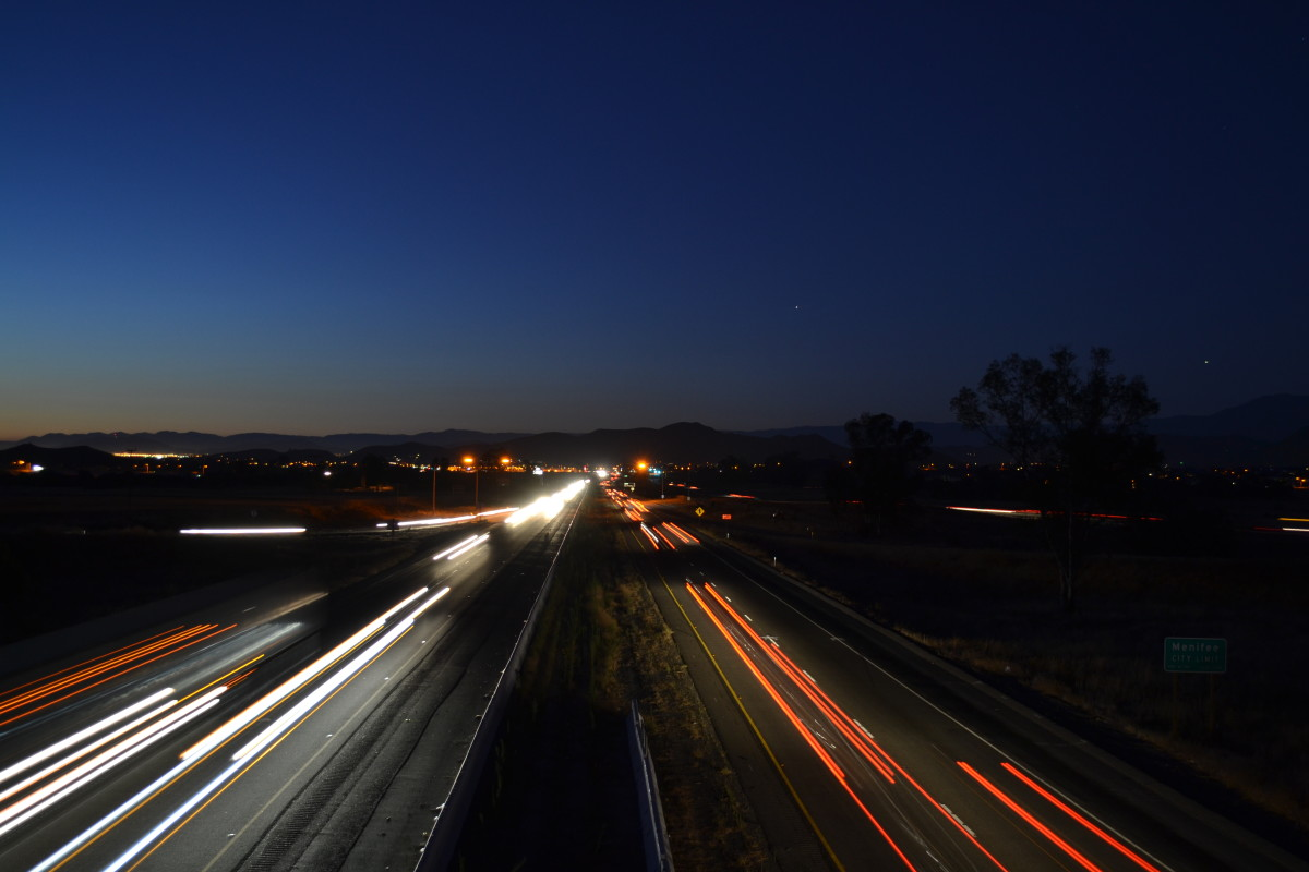 Cars on the freeway in Menifee, California.