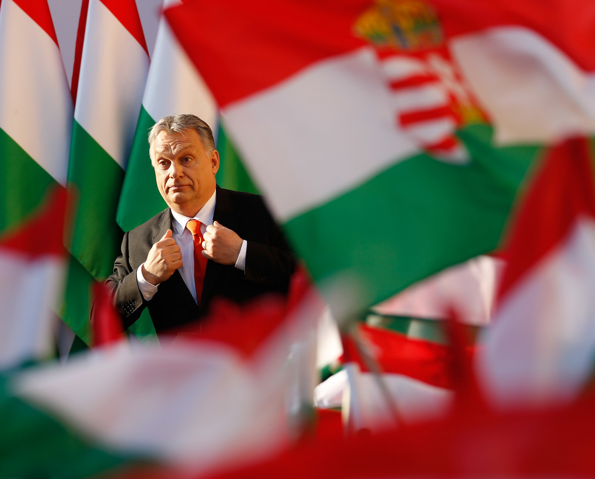 Hungarian Prime Minister Viktor Orban attends his Fidesz party campaign closing rally on April 6th, 2018, in Szekesfehervar, Hungary.