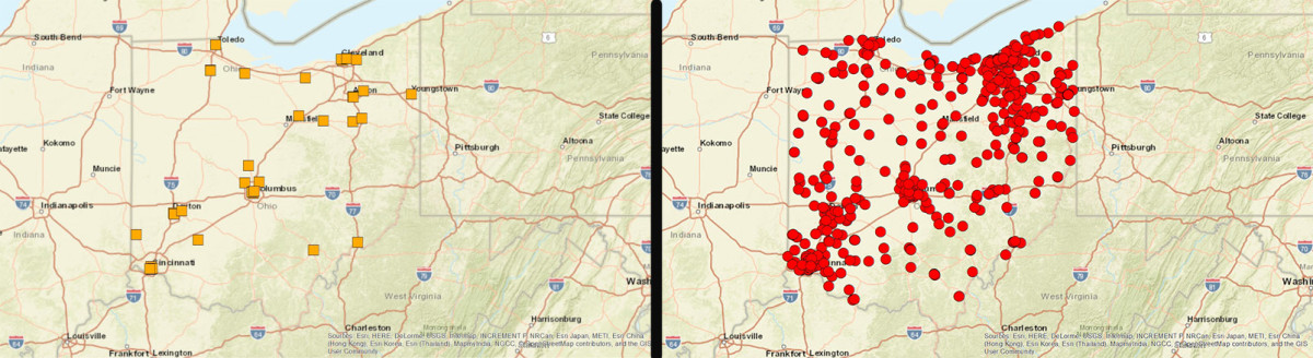Maps from the preliminary round-up of U.S. archives in Ohio show the huge number of repositories not captured in the existing database.