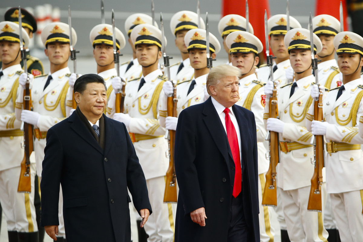 U.S. President Donald Trump takes part in a welcoming ceremony with China's President Xi Jinping on November 9th, 2017, in Beijing, China.