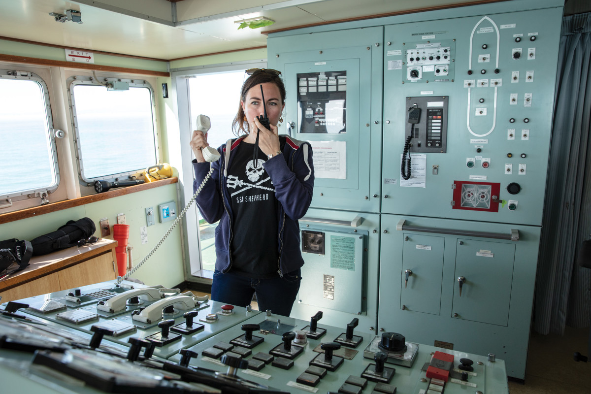 Oona Isabelle Layolle, captain of the Sam Simon and director of ship operations, communicates with another ship involved in Operation Milagro.