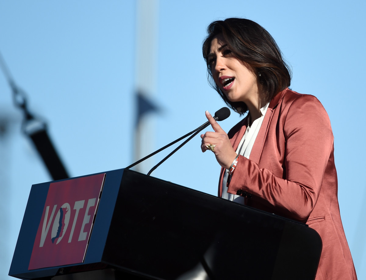 Paulette Jordan speaks during a Women's March event in Las Vegas, Nevada, on January 21st, 2018.