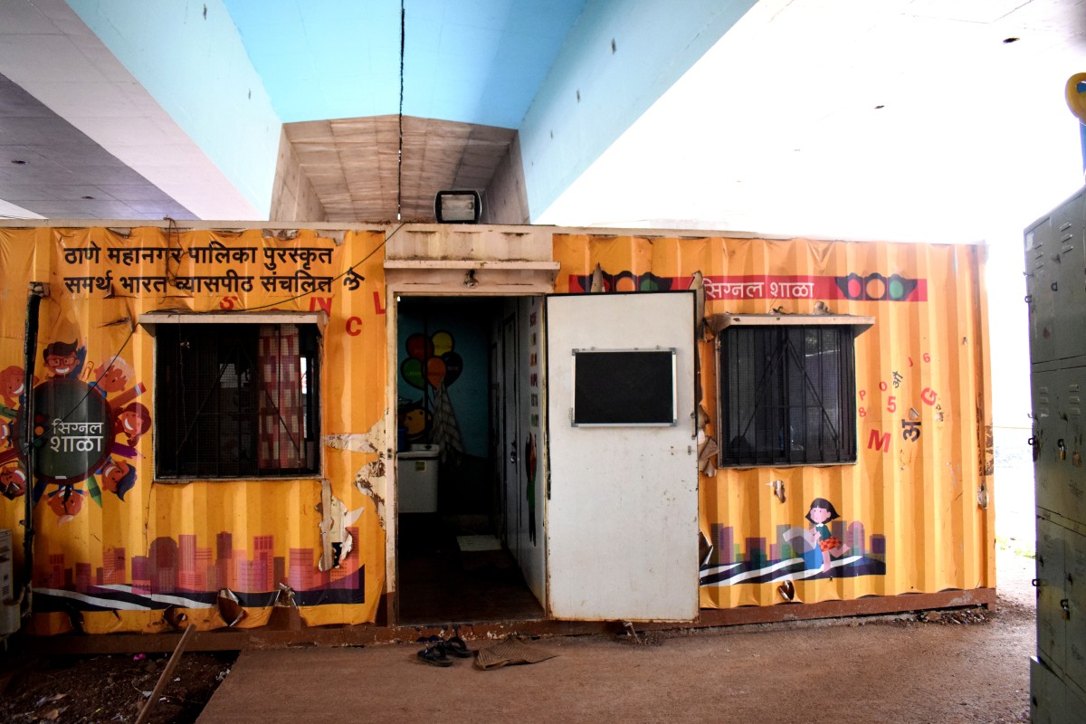 The remodeled shipping container that houses Signal School in Thane.