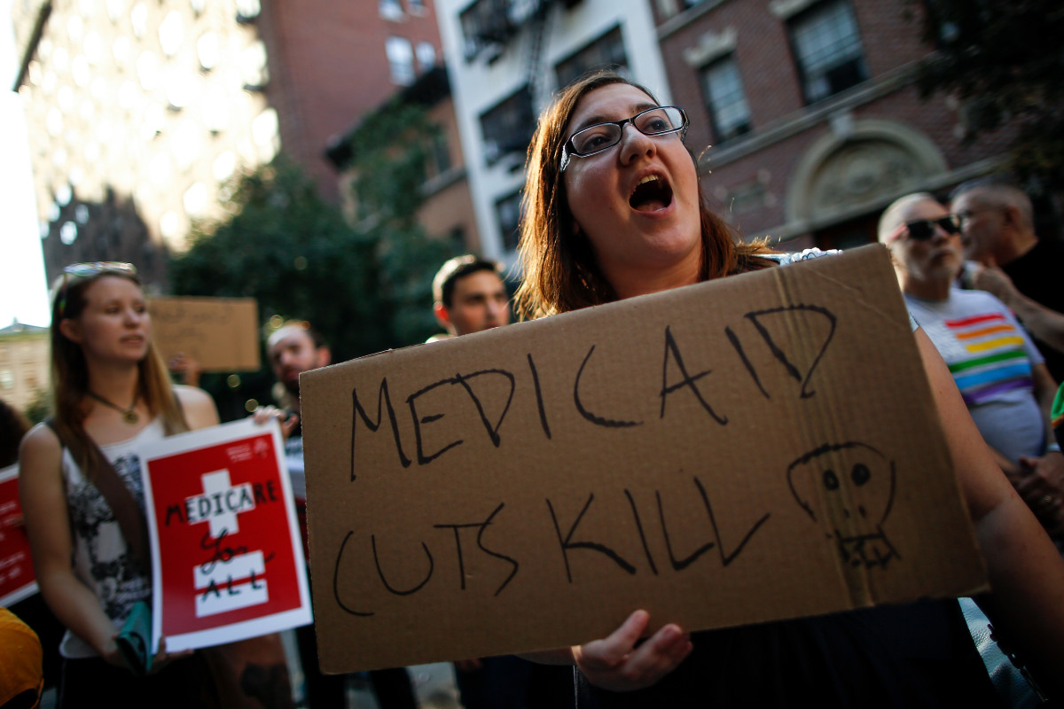A group of activists rally against the GOP health-care plan on July 5th, 2017, in New York City.
