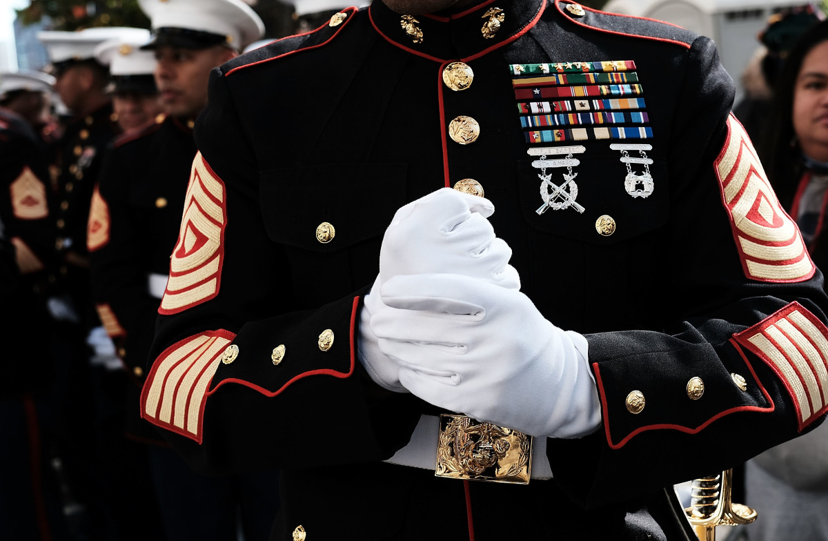 U.S. Marines prepare to march in the Veterans Day Parade on November 11th, 2017, in New York City.