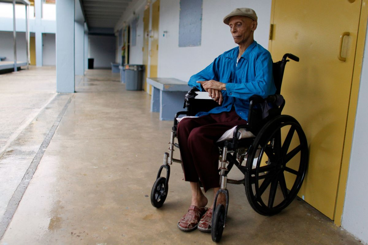 Miguel Angel Nieves sits in his wheelchair at a shelter as Hurricane Maria approaches Puerto Rico on September 19th, 2017.