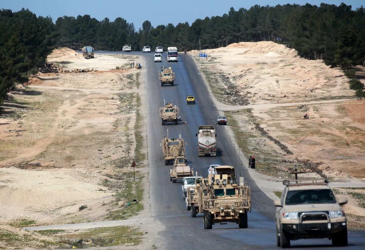 Vehicles of U.S.-backed coalition forces drive in Manbij, northern Syria, on April 3rd, 2018.