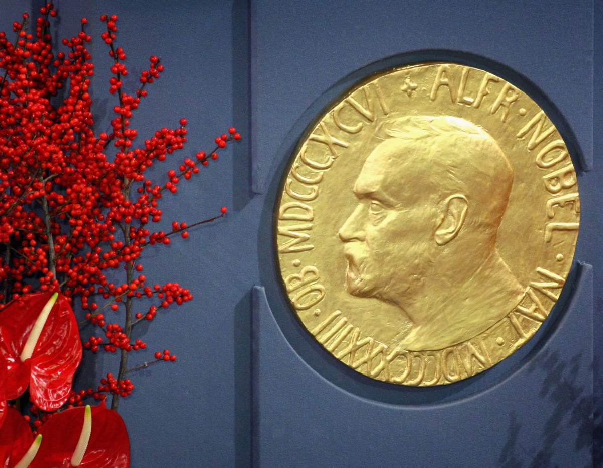 A plaque depicting Alfred Nobel at the 2008 Nobel Peace Prize Ceremony.