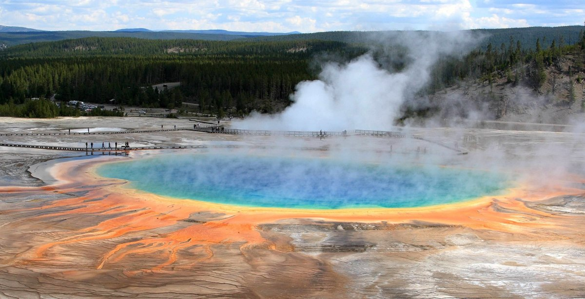Grand Prismatic Spring is the largest hot spring in Yellowstone National Park.