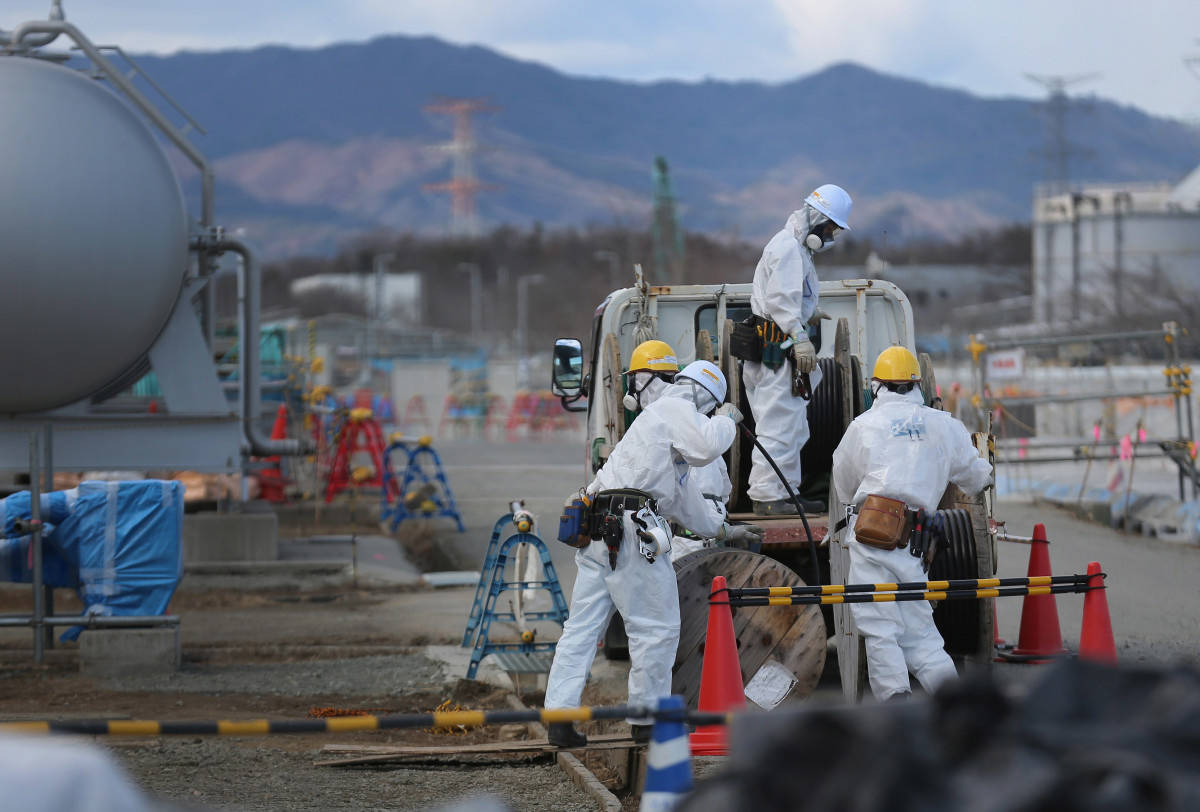 Workers continue the decontamination and reconstruction process at the Tokyo Electric Power Co.'s embattled Fukushima Daiichi nuclear power plant on February 25th, 2016, in Okuma, Japan.