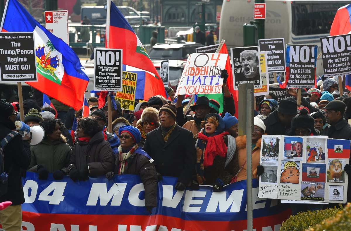 Protesters with the 1804 Movement for All Immigrants march with the Haitian community and other immigrant forces across the Brooklyn Bridge.