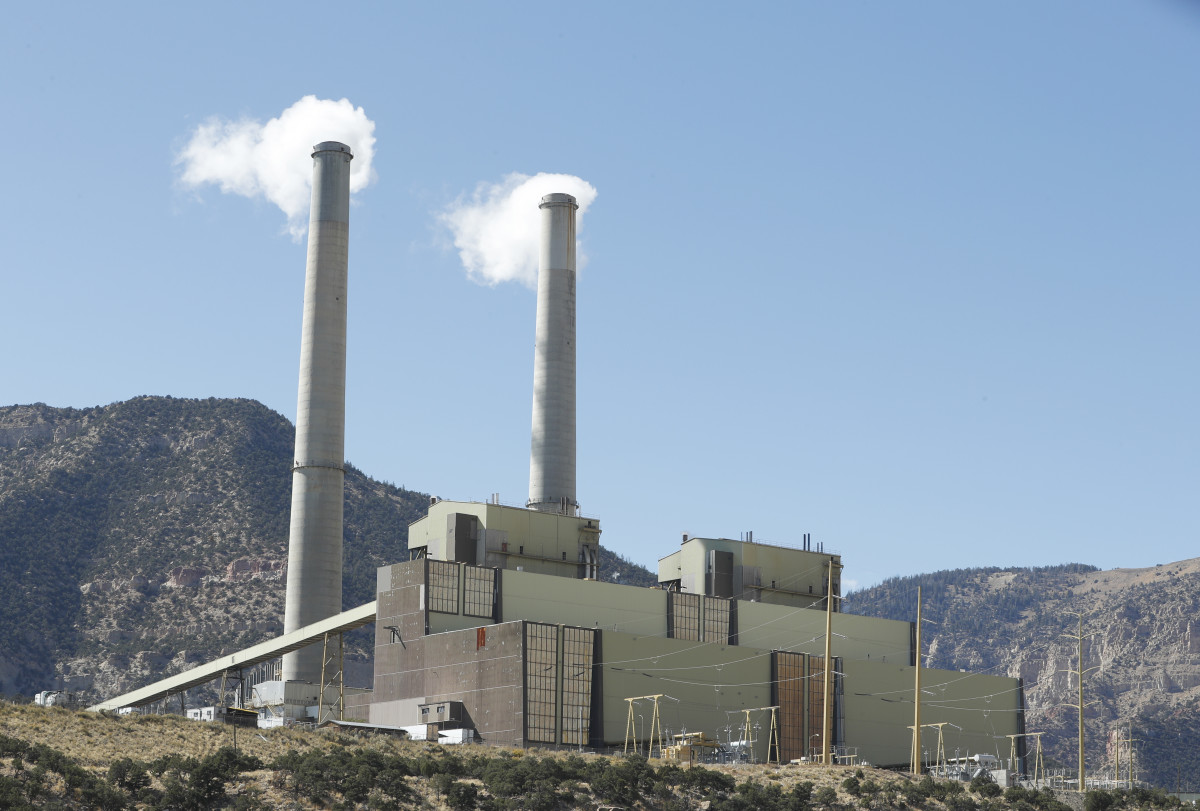Smoke stacks at Pacificorp's 1,000-megawatt coal-fired power plant, pictured on October 9th, 2017, outside Huntington, Utah.