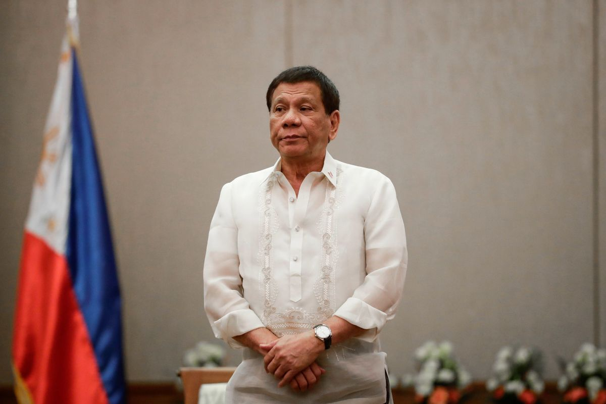 President of the Philippines Rodrigo Duterte looks on during a courtesy call with Association of Southeast Asian Nations.