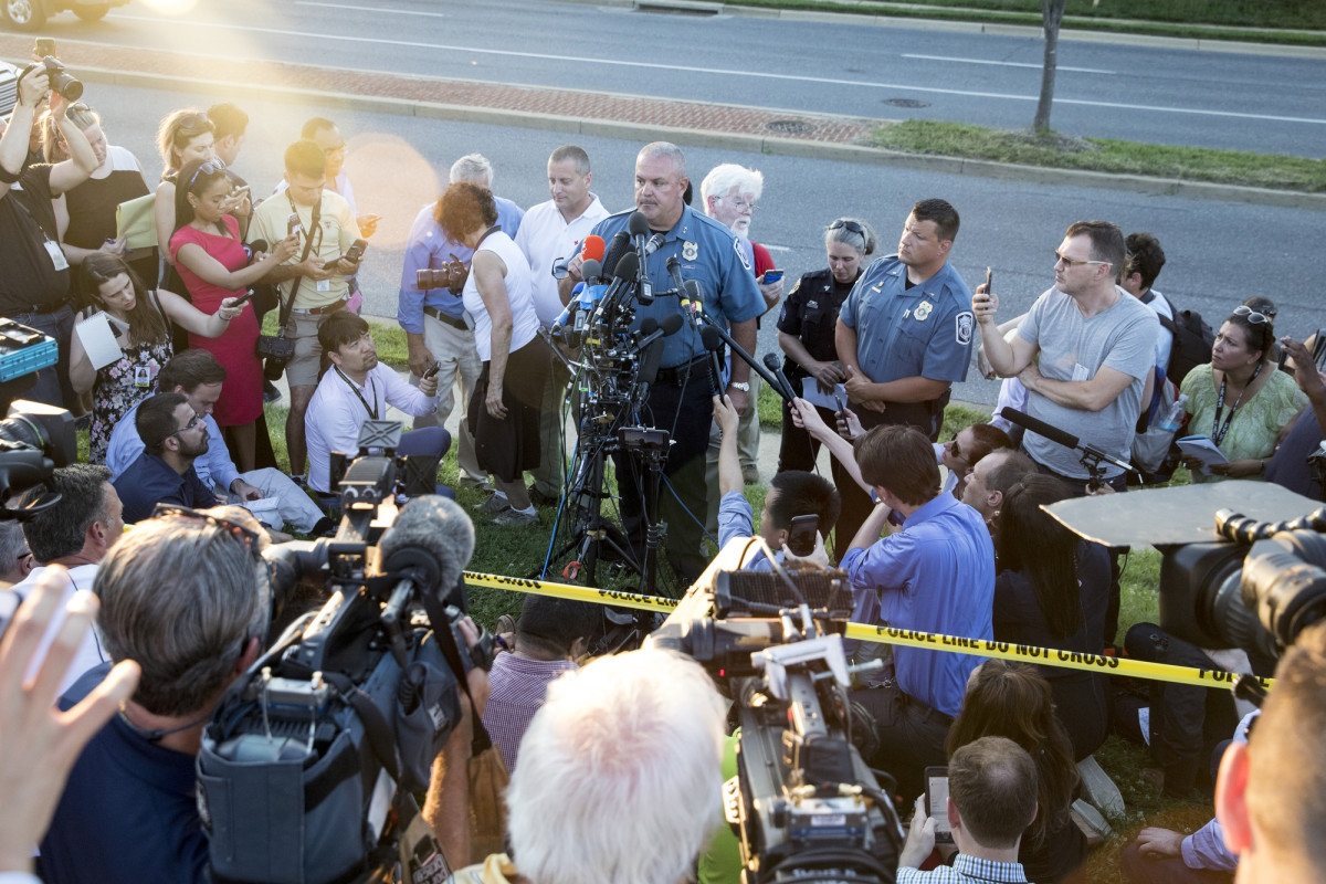 Acting chief of police William Krampf speaks at a press conference about the Capital Gazette shooting on June 28th, 2018, in Annapolis, Maryland.