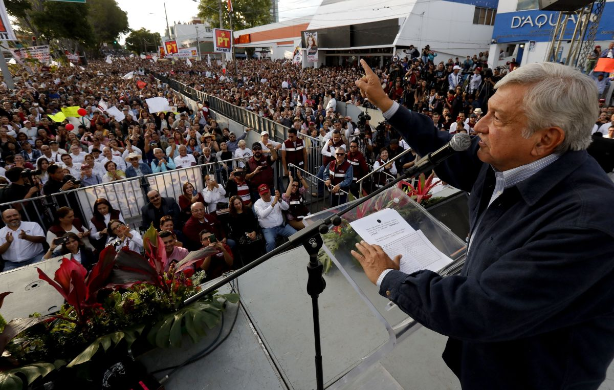 Andrés Manuel López Obrador delivers a speech during a rally in Guadalajara, Mexico, on February 11th, 2018.