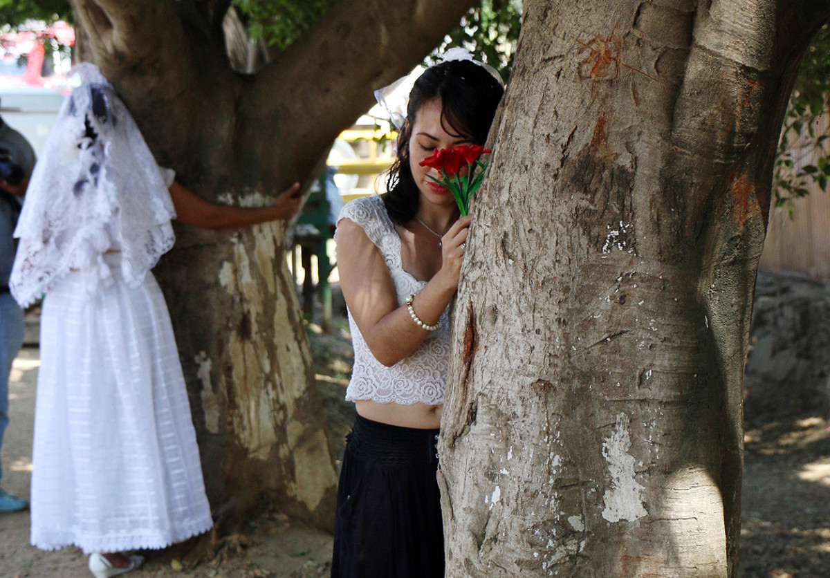 Environmental activists hug trees in Oaxaca State, Mexico, on February 25th, 2018.