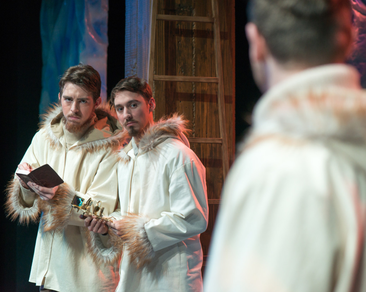 Sterling Matthew Oliver, Sam Massey, and Jacob Edelman-Dolan in the 2016 Kansas State University production of Forward, directed by Jennifer Vellenga.