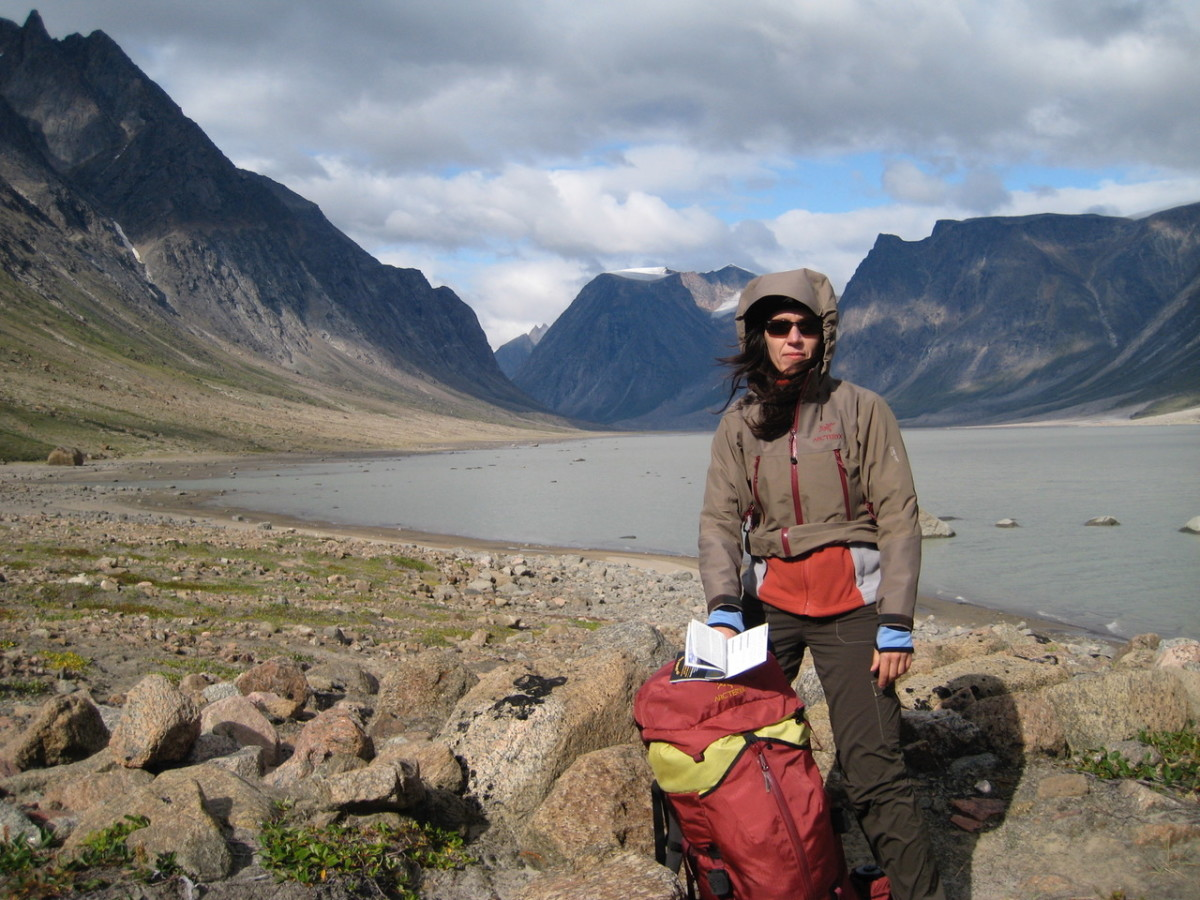 Chantal Bilodeau in Auyuittuq National Park on Baffin Island in Nunavut, Canada, during a research trip for Sila in 2009.
