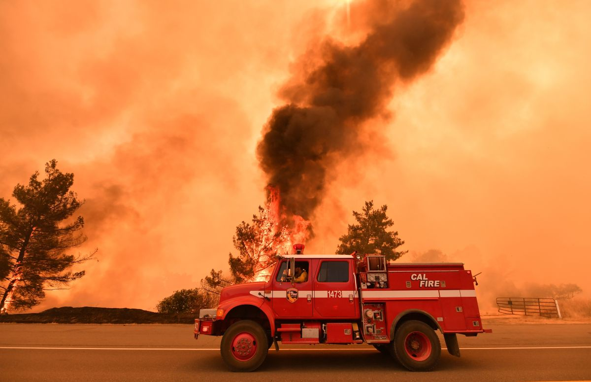 Firefighters work to control flames from the County Fire near Clearlake Oaks, California, on July 1st, 2018.