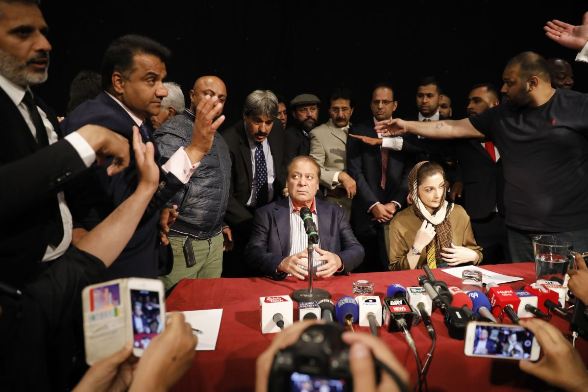 Sharif and his daughter Maryam Nawaz attend a United Kingdom PML-N Party Workers Convention meeting with supporters in London on July 11th, 2018. Sharif was sentenced in absentia to 10 years in prison by a corruption court in Islamabad, lawyers said, dealing a serious blow to his party's troubled campaign ahead of the July 25th elections.
