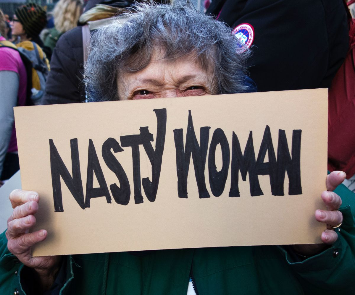 A woman takes part in the Women's March on January 21st, 2017, in New York.