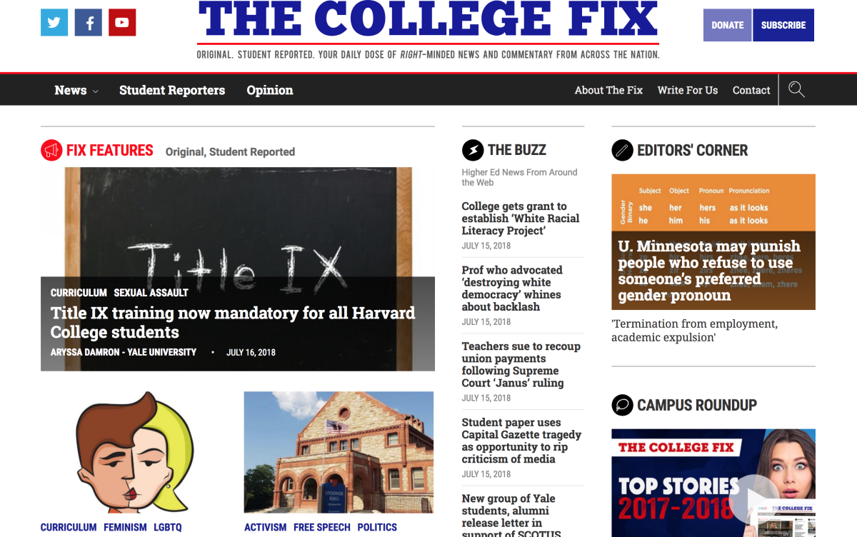 The College Fix homepage.