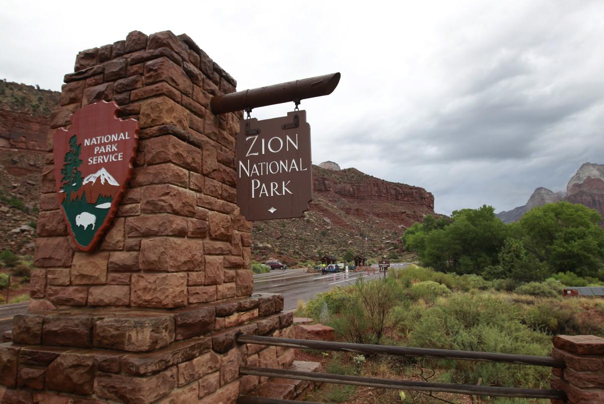 Cars enter Zion National Park on September 15th, 2015, in Springdale, Utah.