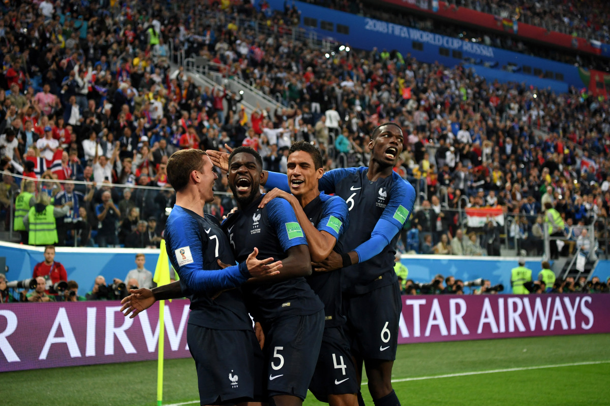 860bb15a5 Samuel Umtiti of France celebrates with teammates after scoring his team s  first goal during the 2018