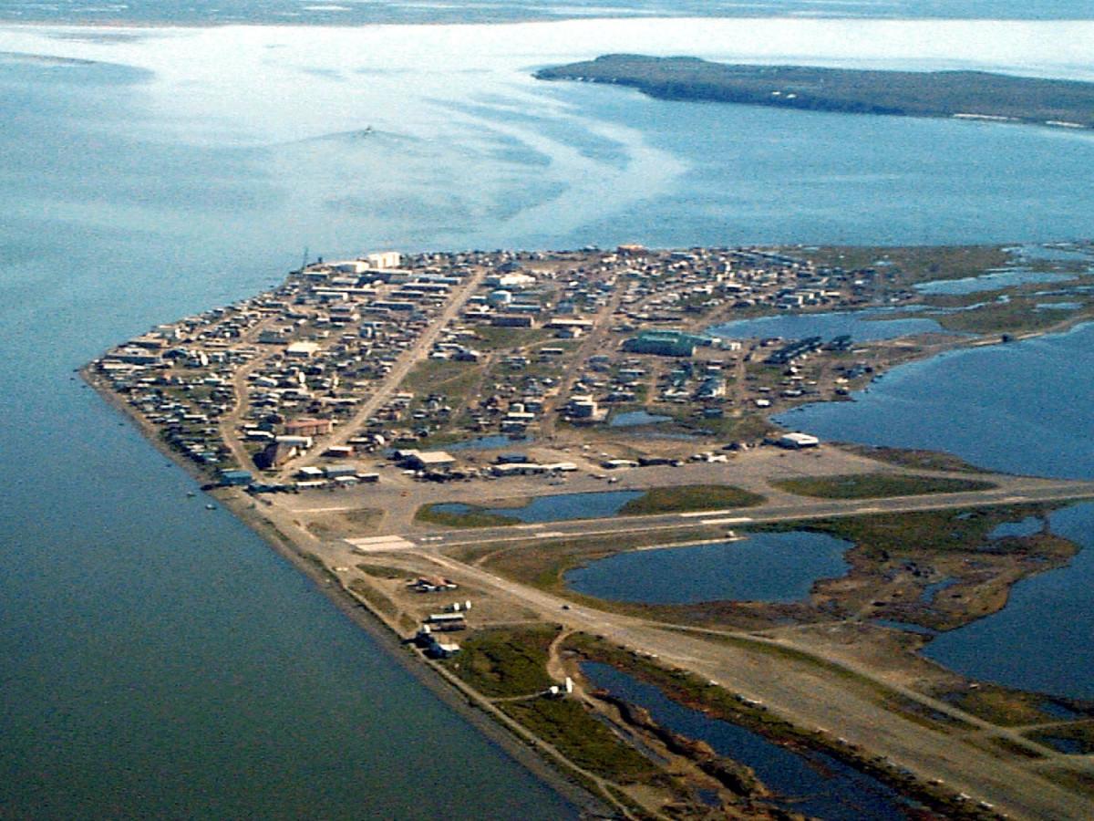 An aerial view of Kotzebue, Alaska.