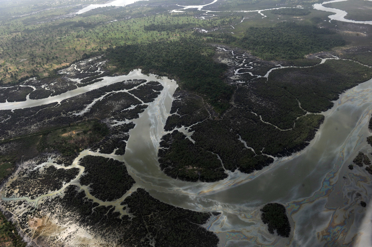 Creeks and vegetations devastated as a result of spills from oil thieves and Shell operational failures in the Niger Delta.