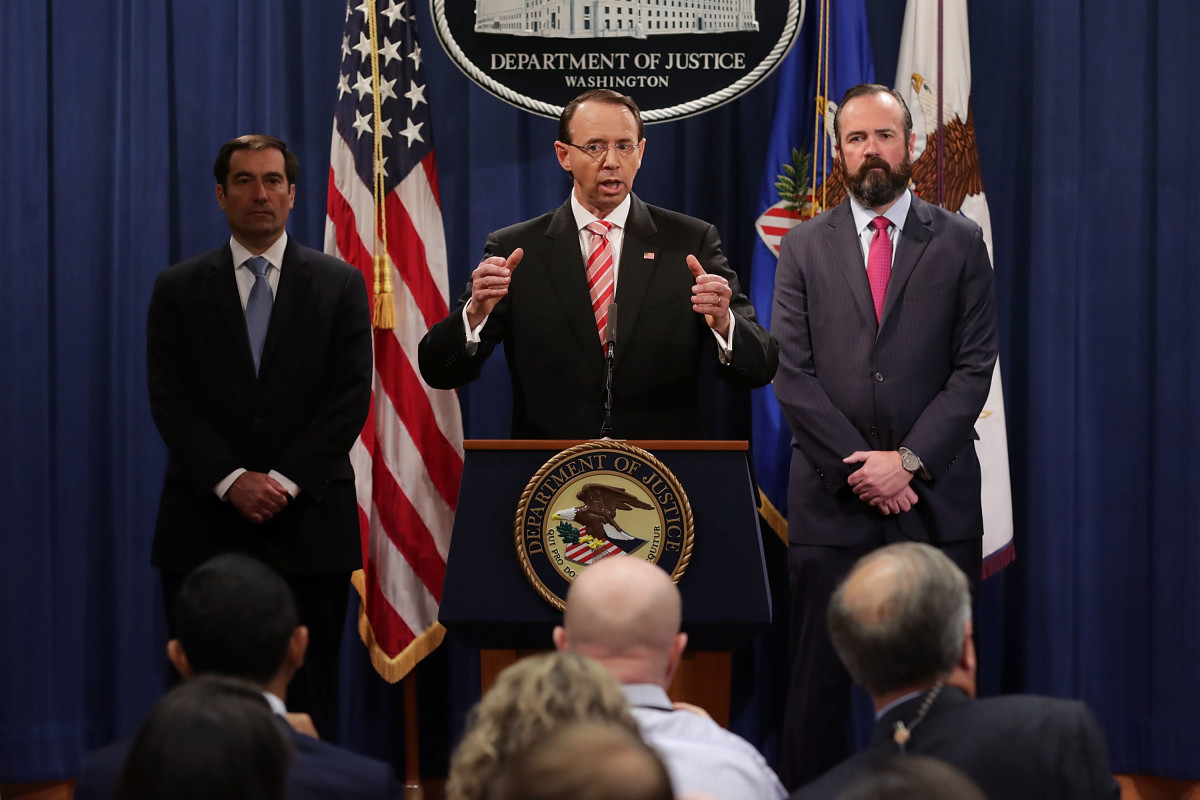 U.S. Deputy Attorney General Rod Rosenstein holds a news conference at the Department of Justice on July 13th, 2018, in Washington, D.C.