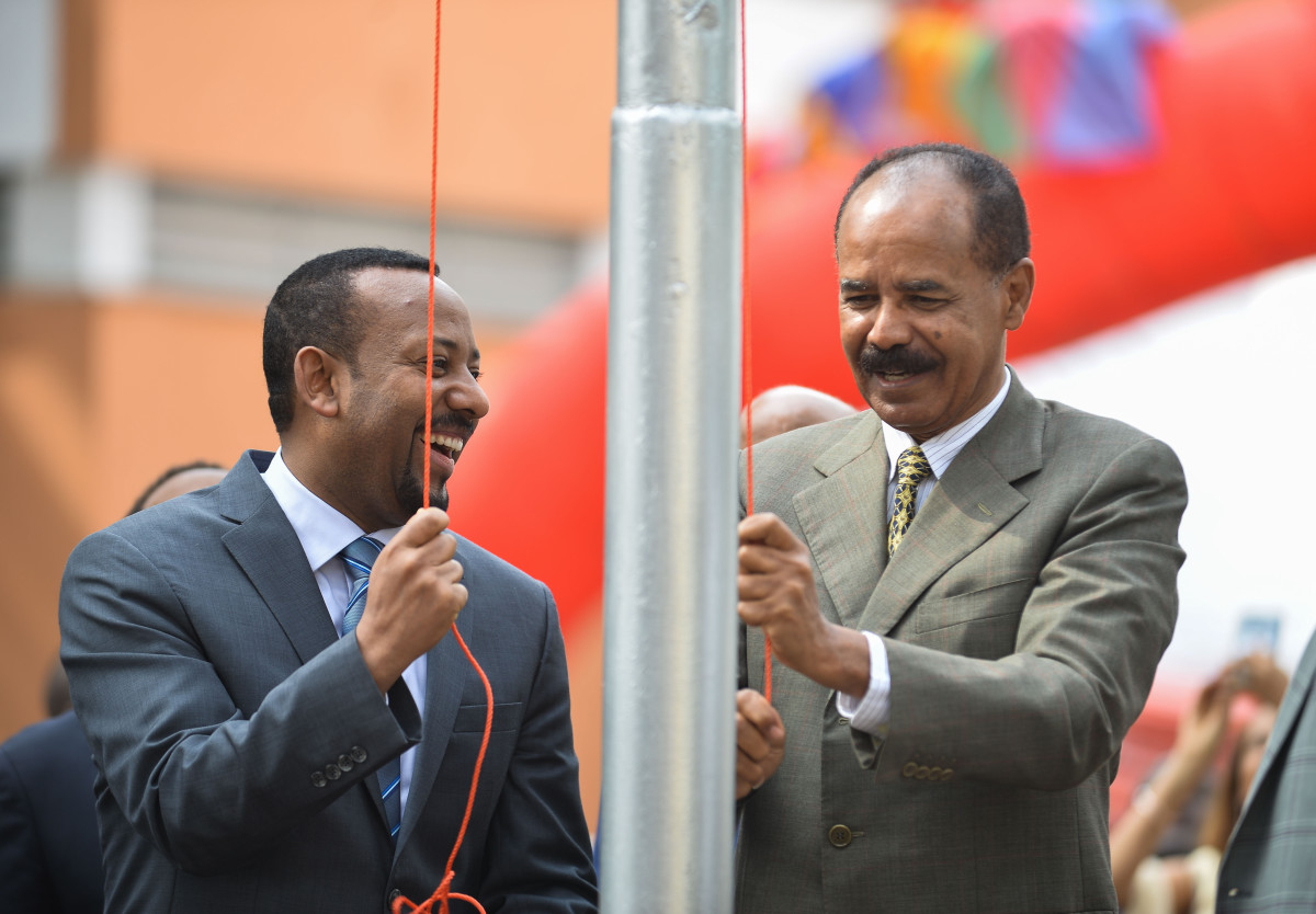 Ethiopian Prime Minister Abiy Ahmed and Eritrean President Isaias Afwerki celebrate the re-opening of the Eritrean embassy in Addis Ababa, Ethiopia, on July 16th, 2018.