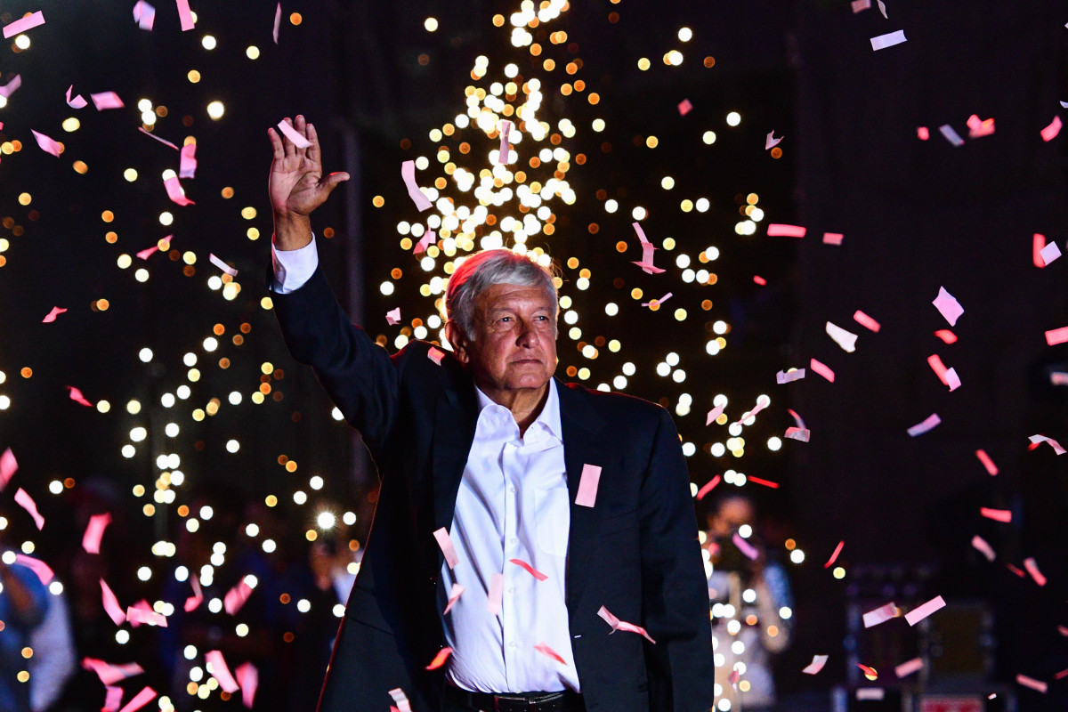Andrés Manuel López Obrador waves to supporters during the closing rally of his campaign at the Azteca stadium in Mexico City on June 27th, 2018.