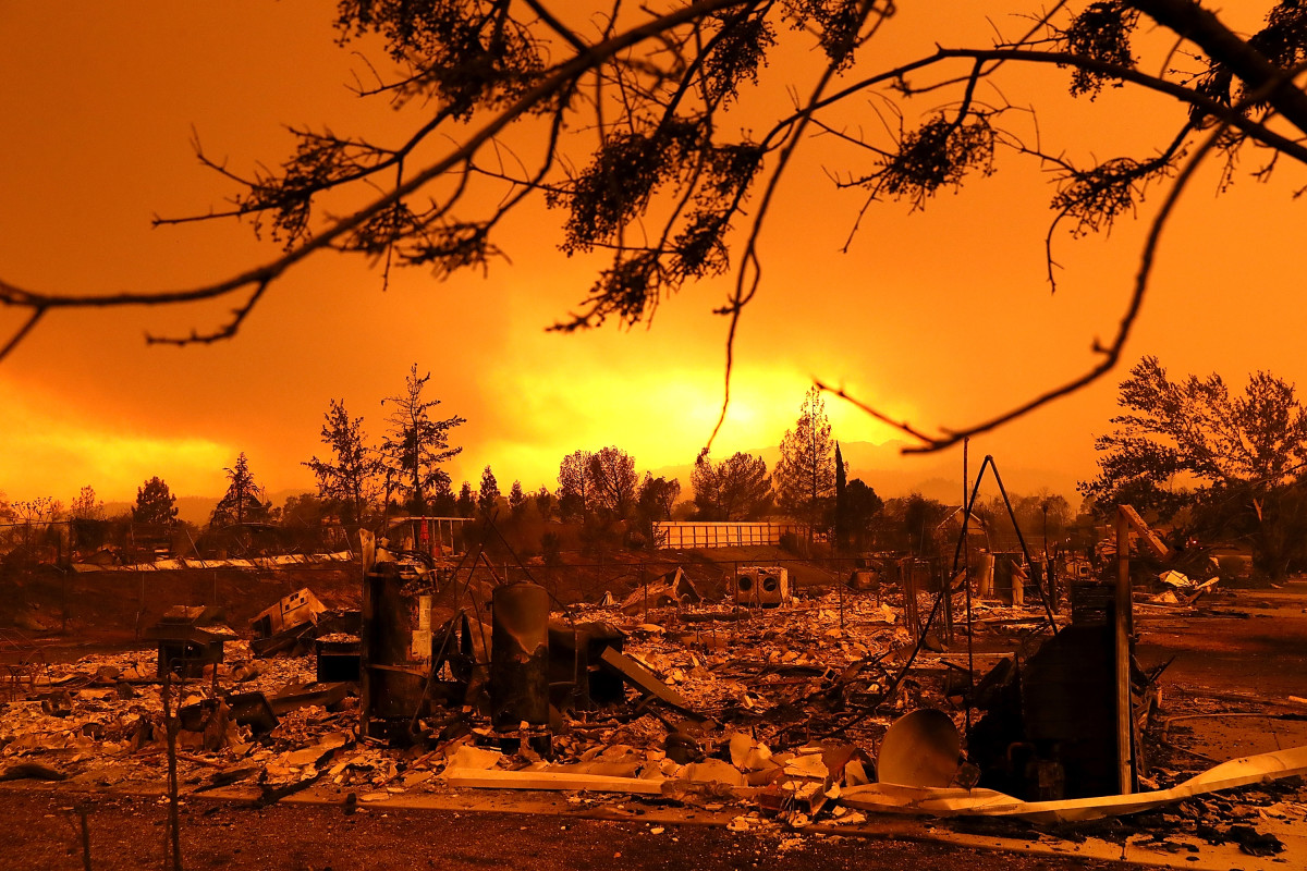 A view of homes that were destroyed by the Carr Fire on July 27th, 2018, in Redding, California.