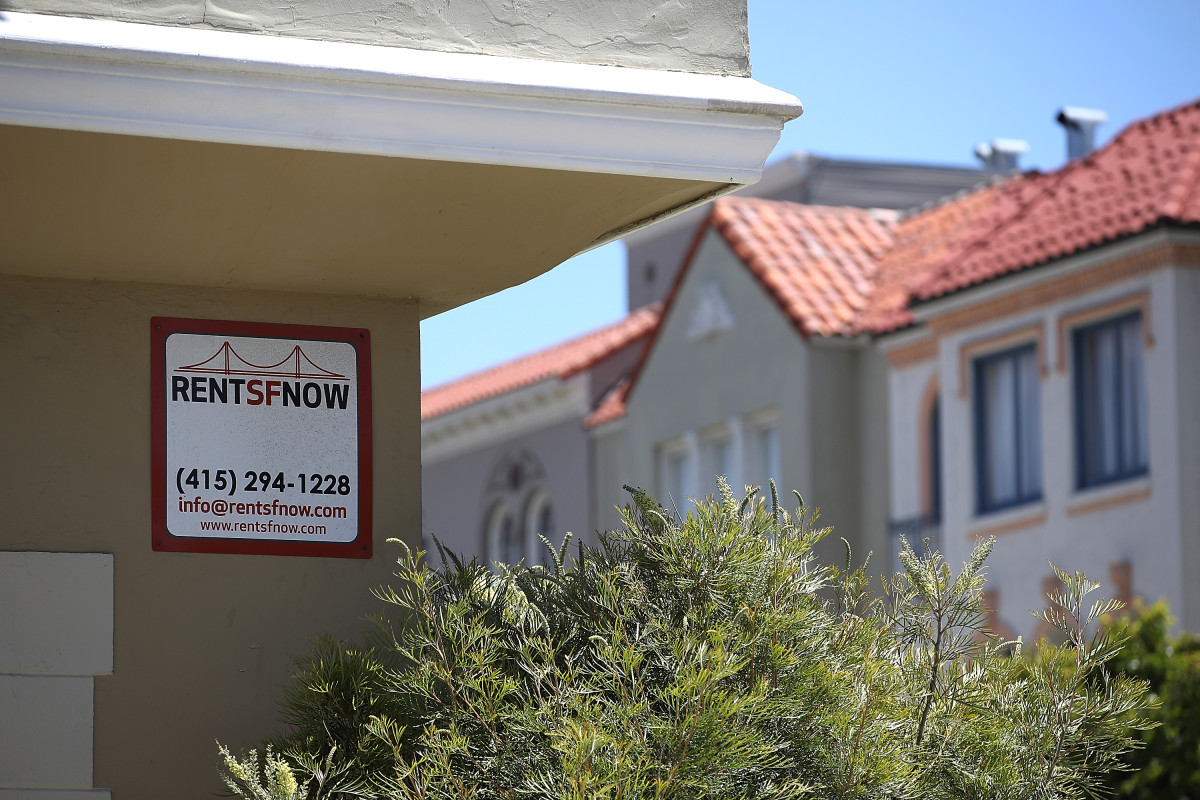 A rental vacancy sign is posted in front of an apartment on June 13th, 2018, in San Francisco, California.
