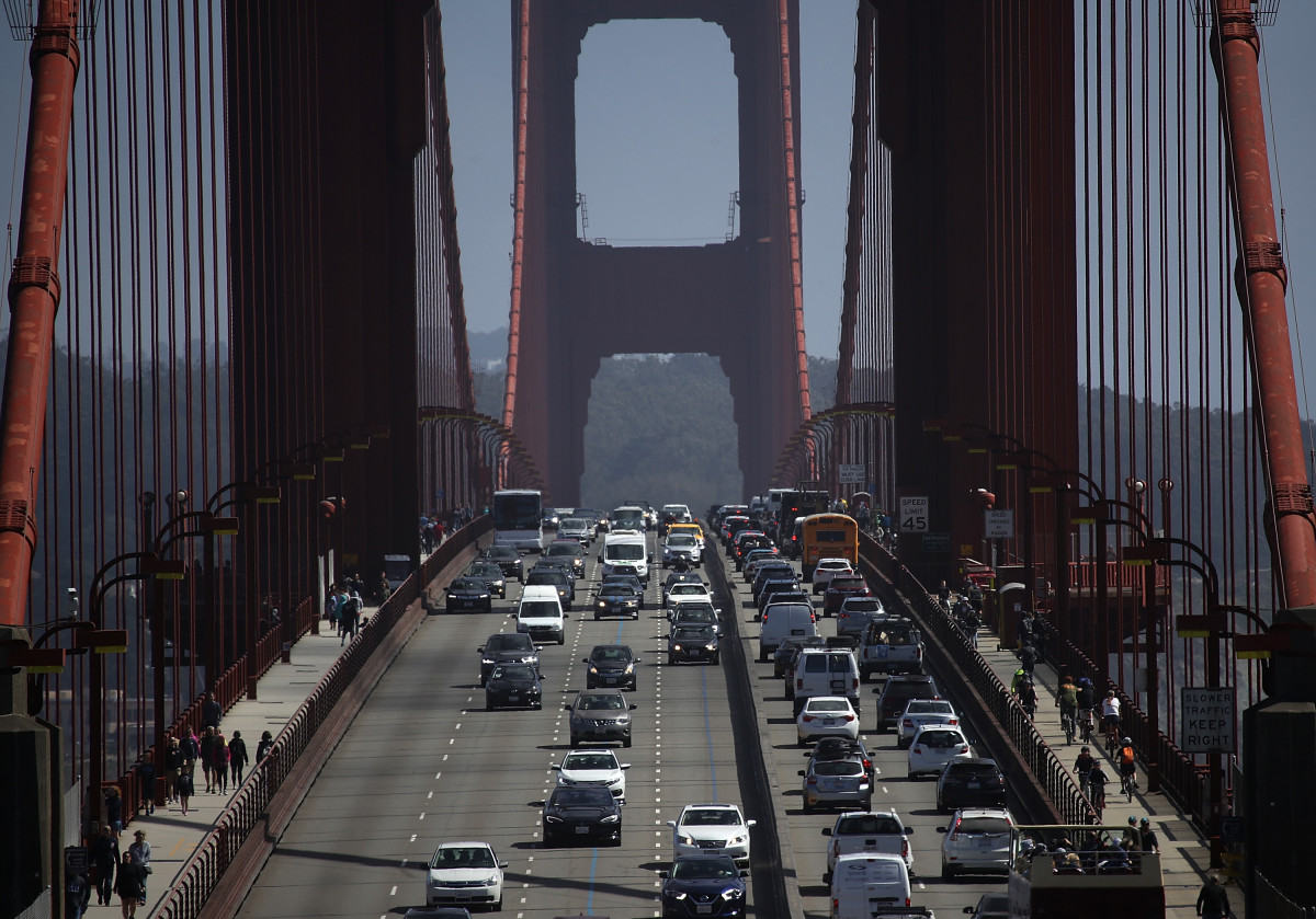 Cars drive over the Golden Gate Bridge on August 2nd, 2018, in Sausalito, California.