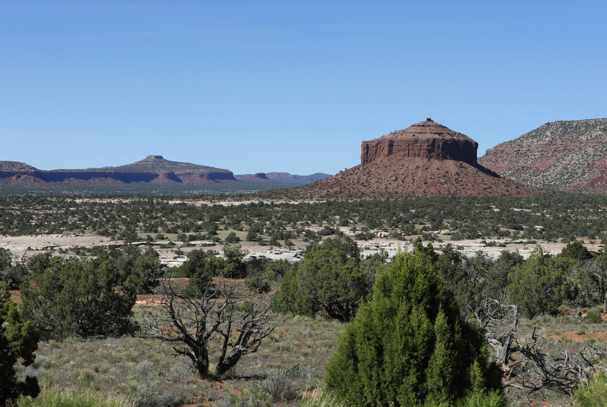 Sandstone formations on the western edge of the Bears Ears National Monument outside Blanding, Utah.