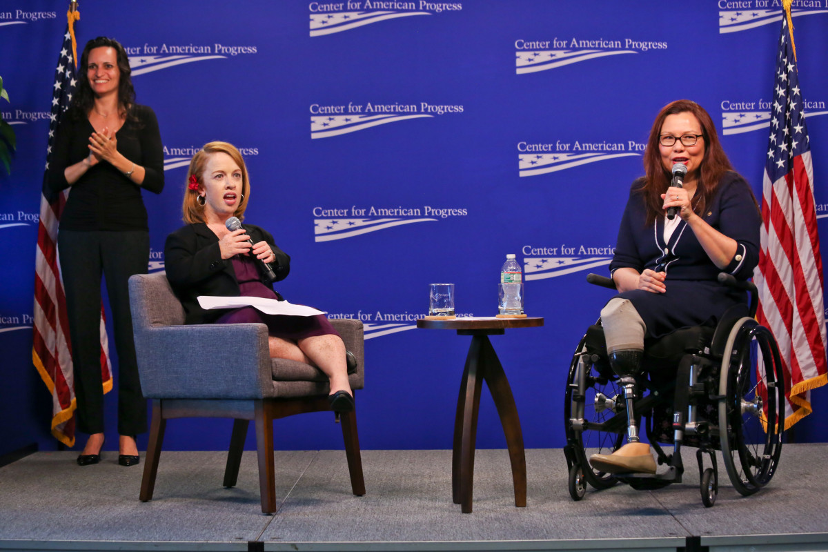 Rebecca Cokley and Senator Tammy Duckworth at the launch of the Disability Justice Initiative at the Center for American Progress, July 26th, 2018, in Washington, D.C.